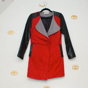 Jackets & Blazers - Cute red mod retro felt and pleather jacket Medium